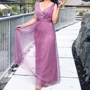 V Neck Long A Line Party Dress